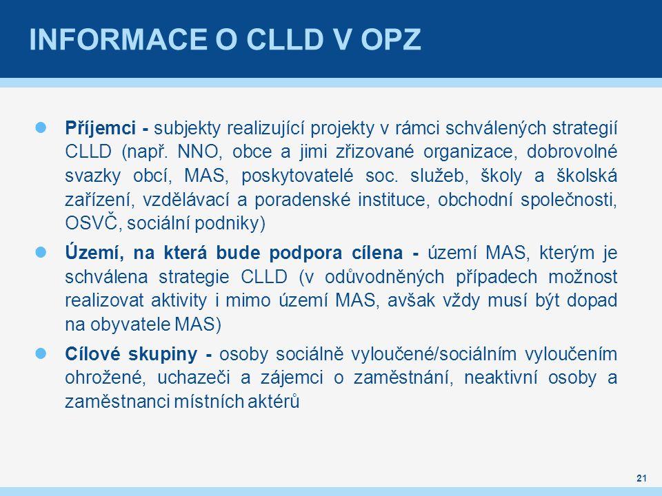 21 INFORMACE O CLLD V OPZ Příjemci - subjekty realizující projekty v rámci schválených strategií CLLD (např.