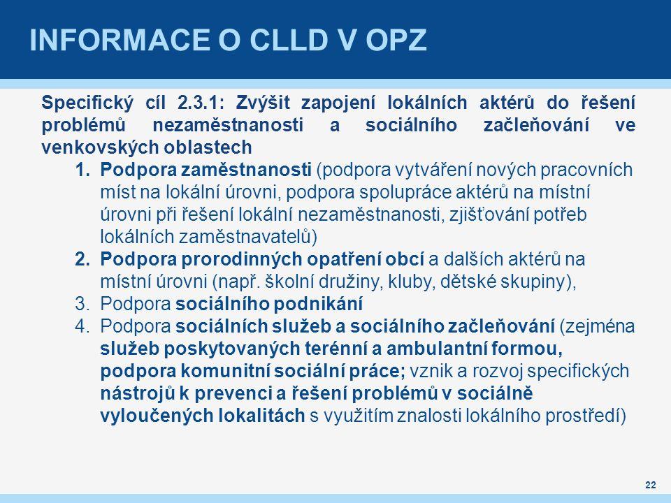 INFORMACE O CLLD V OPZ 22 Specifický cíl 2.3.1: Zvýšit zapojení lokálních aktérů do řešení problémů nezaměstnanosti a sociálního začleňování ve venkovských oblastech 1.Podpora zaměstnanosti (podpora vytváření nových pracovních míst na lokální úrovni, podpora spolupráce aktérů na místní úrovni při řešení lokální nezaměstnanosti, zjišťování potřeb lokálních zaměstnavatelů) 2.Podpora prorodinných opatření obcí a dalších aktérů na místní úrovni (např.