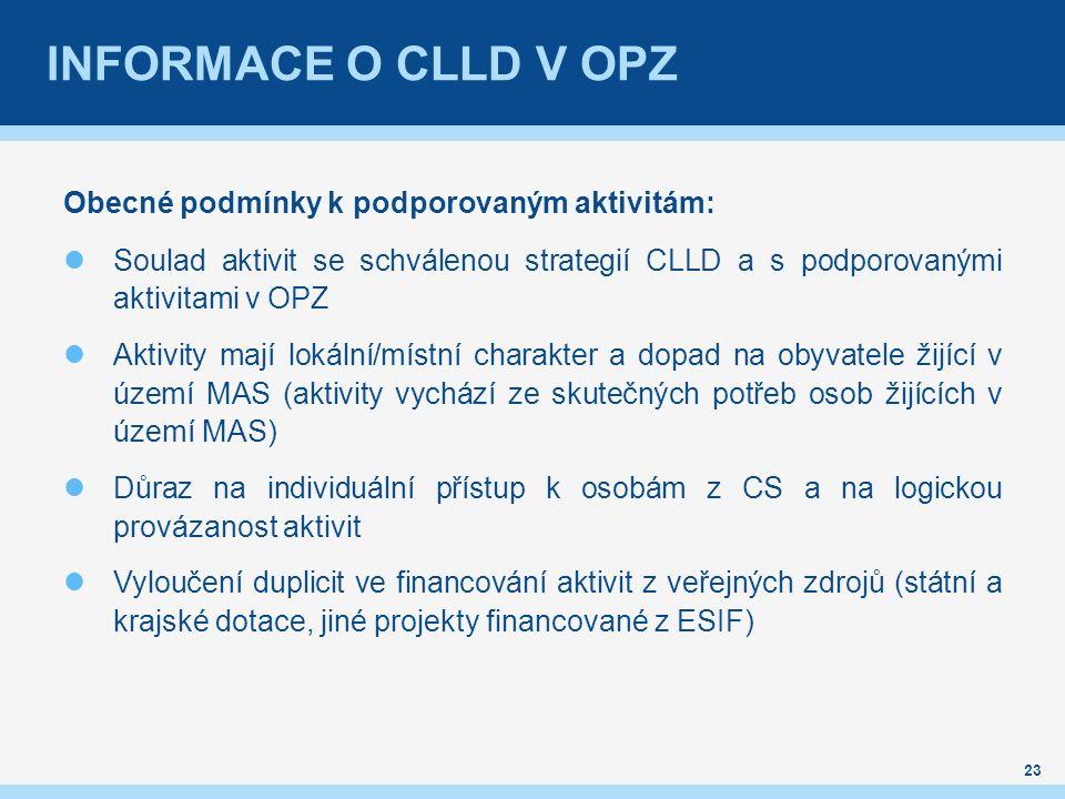 INFORMACE O CLLD V OPZ Obecné podmínky k podporovaným aktivitám: Soulad aktivit se schválenou strategií CLLD a s podporovanými aktivitami v OPZ Aktivity mají lokální/místní charakter a dopad na obyvatele žijící v území MAS (aktivity vychází ze skutečných potřeb osob žijících v území MAS) Důraz na individuální přístup k osobám z CS a na logickou provázanost aktivit Vyloučení duplicit ve financování aktivit z veřejných zdrojů (státní a krajské dotace, jiné projekty financované z ESIF) 23