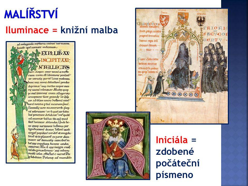 Iluminace = knižní malba Iniciála = zdobené počáteční písmeno