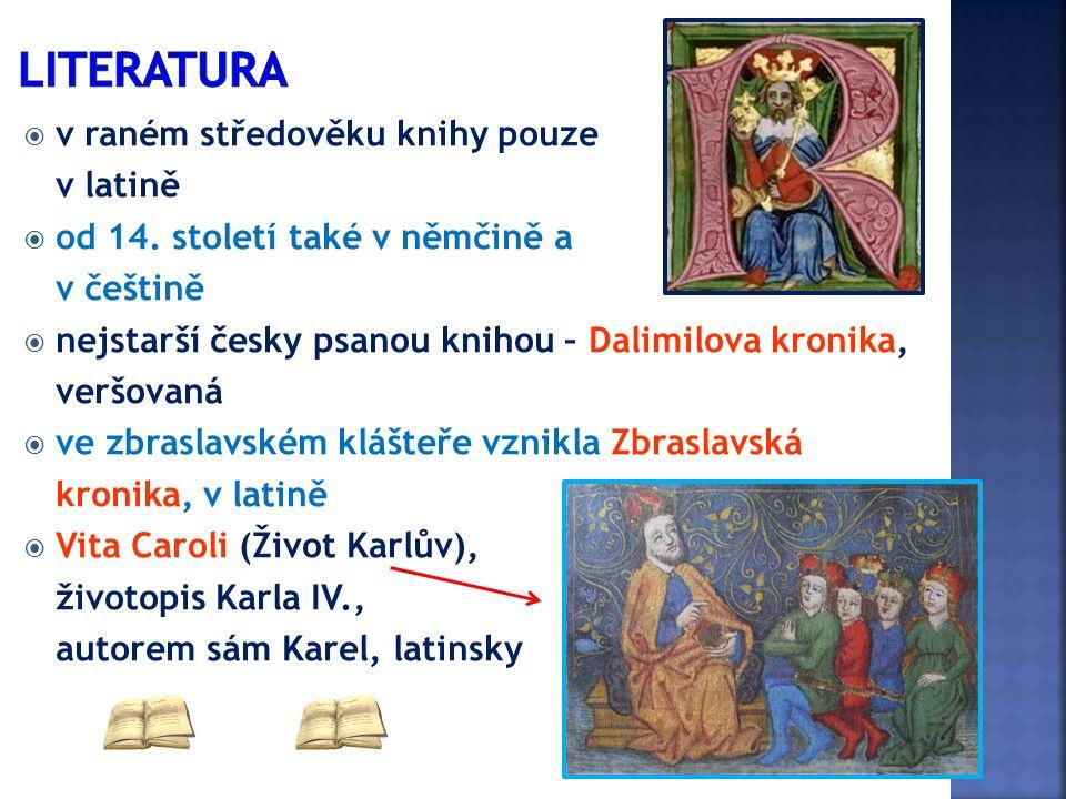  v raném středověku knihy pouze v latině  od 14. století také v němčině a v češtině  nejstarší česky psanou knihou – Dalimilova kronika, veršovaná