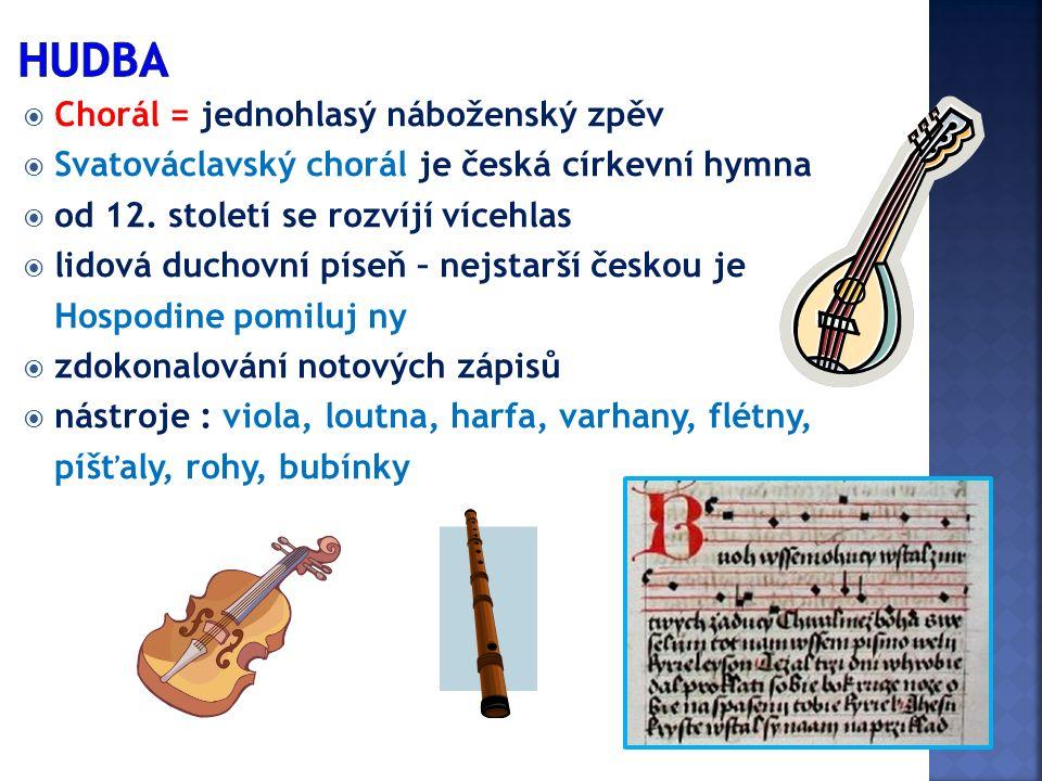  Chorál = jednohlasý náboženský zpěv  Svatováclavský chorál je česká církevní hymna  od 12. století se rozvíjí vícehlas  lidová duchovní píseň – n
