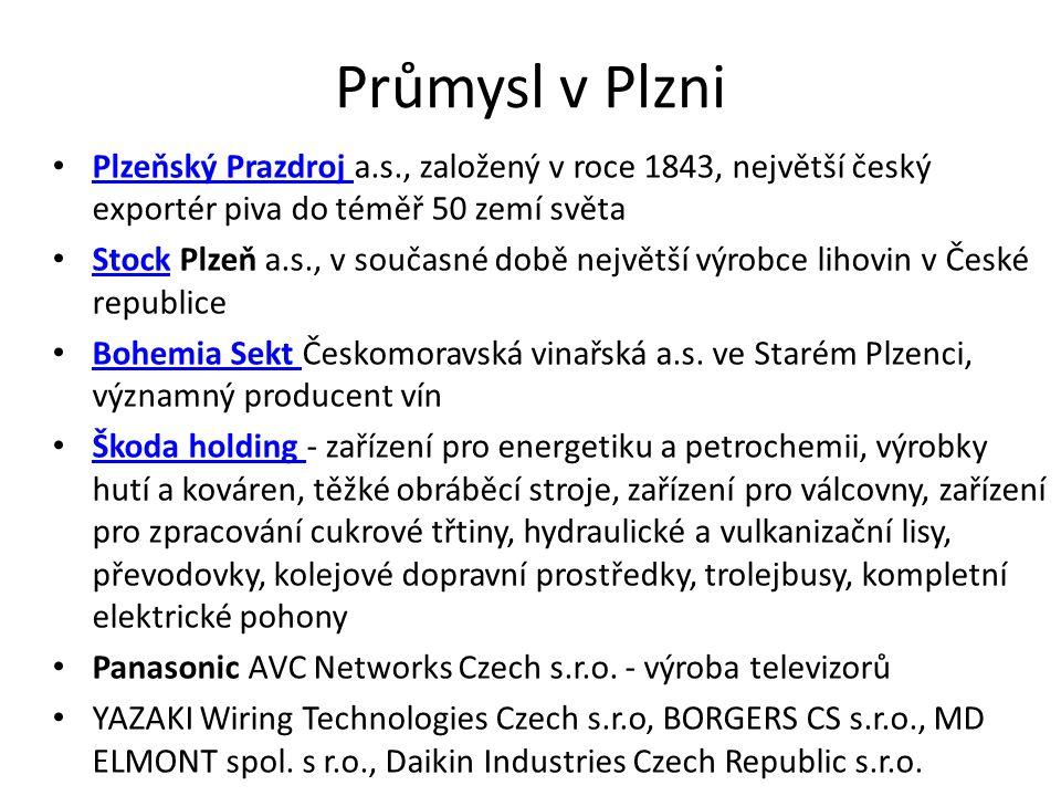 Průmysl v Plzni Plzeňský Prazdroj a.s., založený v roce 1843, největší český exportér piva do téměř 50 zemí světa Plzeňský Prazdroj Stock Plzeň a.s., v současné době největší výrobce lihovin v České republice Stock Bohemia Sekt Českomoravská vinařská a.s.