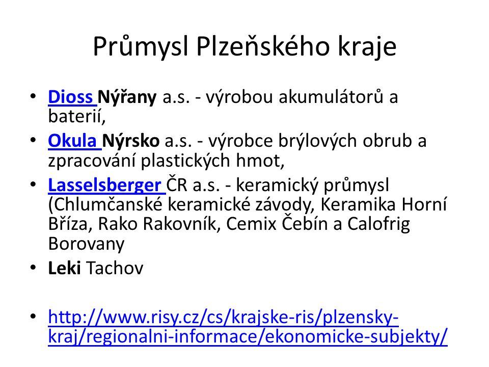 Průmysl Plzeňského kraje Dioss Nýřany a.s. - výrobou akumulátorů a baterií, Dioss Okula Nýrsko a.s.