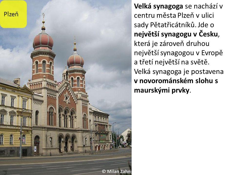 Plzeň Velká synagoga se nachází v centru města Plzeň v ulici sady Pětatřicátníků.