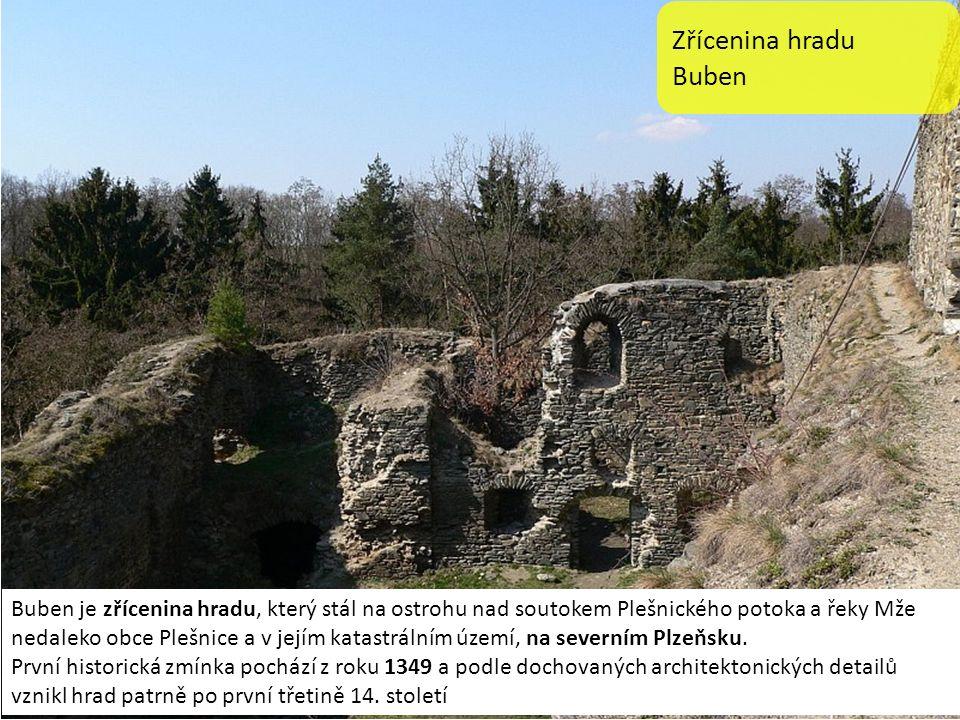 Zřícenina hradu Buben Buben je zřícenina hradu, který stál na ostrohu nad soutokem Plešnického potoka a řeky Mže nedaleko obce Plešnice a v jejím katastrálním území, na severním Plzeňsku.