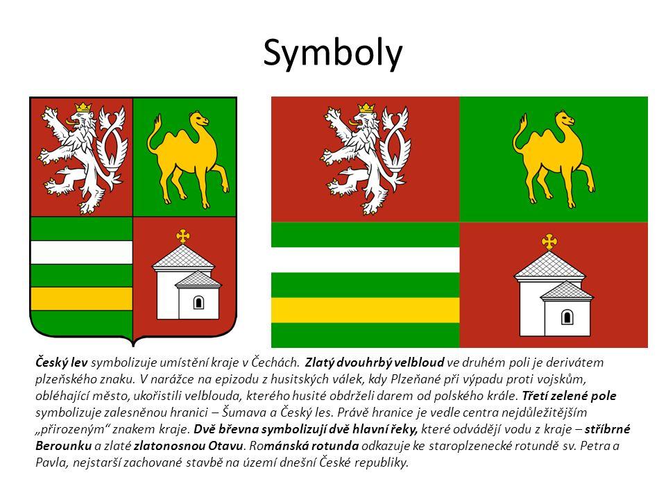 Symboly Český lev symbolizuje umístění kraje v Čechách.