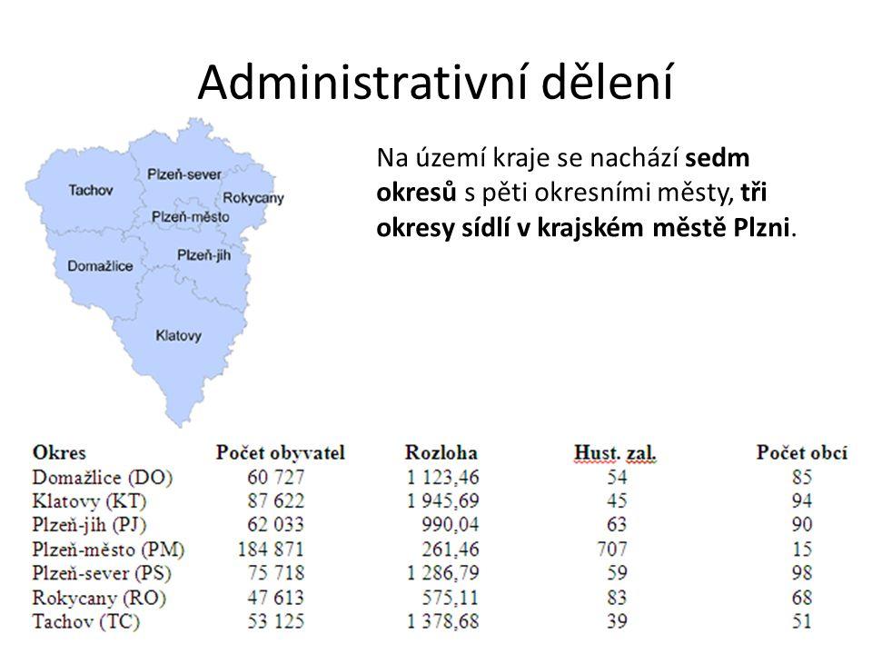 Administrativní dělení Na území kraje se nachází sedm okresů s pěti okresními městy, tři okresy sídlí v krajském městě Plzni.