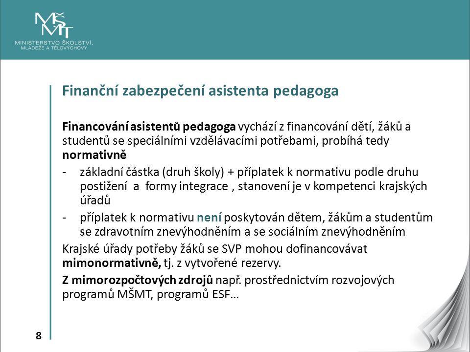 8 Finanční zabezpečení asistenta pedagoga Financování asistentů pedagoga vychází z financování dětí, žáků a studentů se speciálními vzdělávacími potřebami, probíhá tedy normativně -základní částka (druh školy) + příplatek k normativu podle druhu postižení a formy integrace, stanovení je v kompetenci krajských úřadů -příplatek k normativu není poskytován dětem, žákům a studentům se zdravotním znevýhodněním a se sociálním znevýhodněním Krajské úřady potřeby žáků se SVP mohou dofinancovávat mimonormativně, tj.