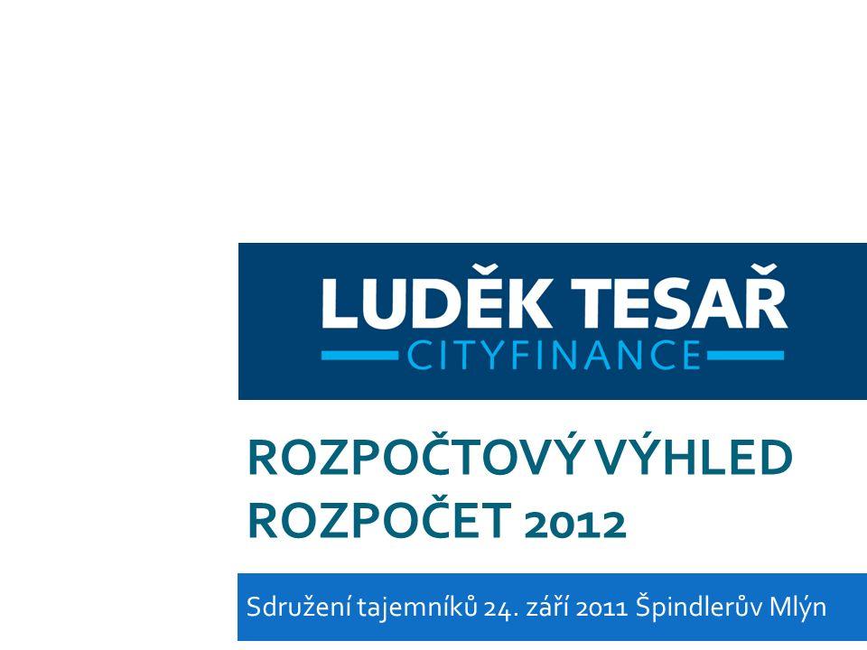 ROZPOČTOVÝ VÝHLED ROZPOČET 2012 Sdružení tajemníků 24. září 2011 Špindlerův Mlýn