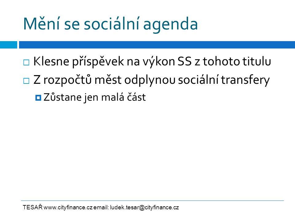 Mění se sociální agenda  Klesne příspěvek na výkon SS z tohoto titulu  Z rozpočtů měst odplynou sociální transfery  Zůstane jen malá část TESAŘ www