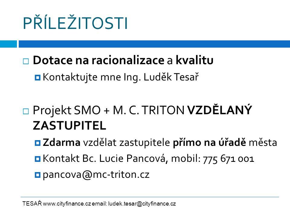 PŘÍLEŽITOSTI  Dotace na racionalizace a kvalitu  Kontaktujte mne Ing. Luděk Tesař  Projekt SMO + M. C. TRITON VZDĚLANÝ ZASTUPITEL  Zdarma vzdělat