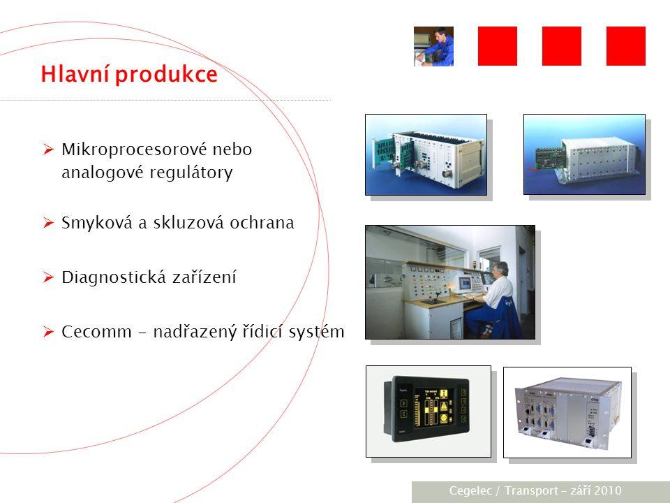 [City / Unit] – [date] 2005 Hlavní produkce  Mikroprocesorové nebo analogové regulátory  Smyková a skluzová ochrana  Diagnostická zařízení  Cecomm - nadřazený řídicí systém Cegelec / Transport – září 2010