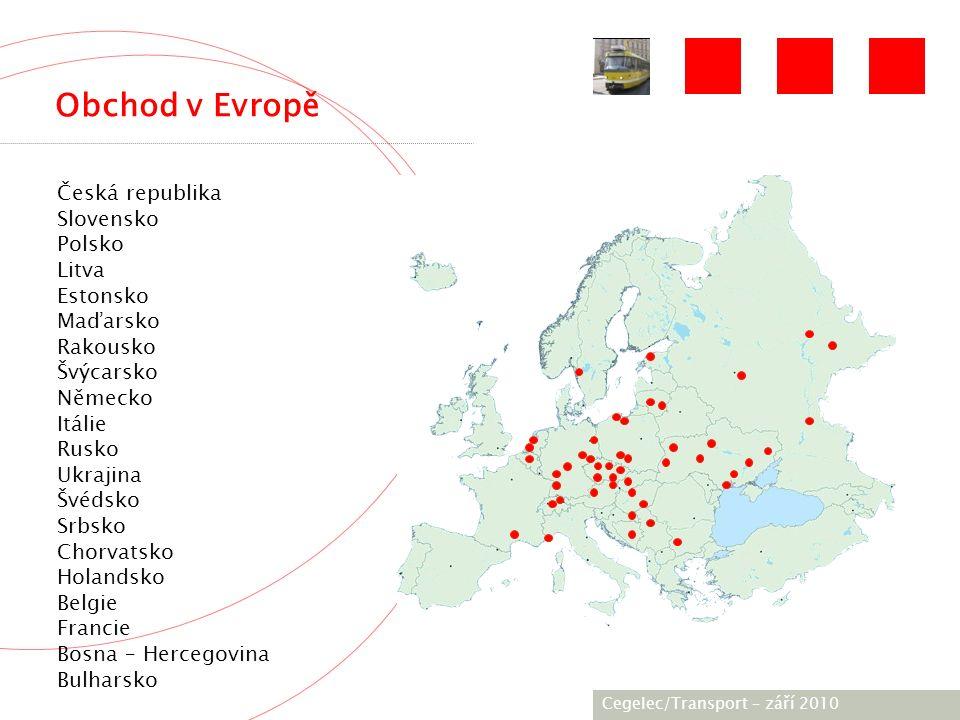 [City / Unit] – [date] 2005 Obchod v Evropě Česká republika Slovensko Polsko Litva Estonsko Maďarsko Rakousko Švýcarsko Německo Itálie Rusko Ukrajina Švédsko Srbsko Chorvatsko Holandsko Belgie Francie Bosna – Hercegovina Bulharsko Cegelec/Transport – září 2010
