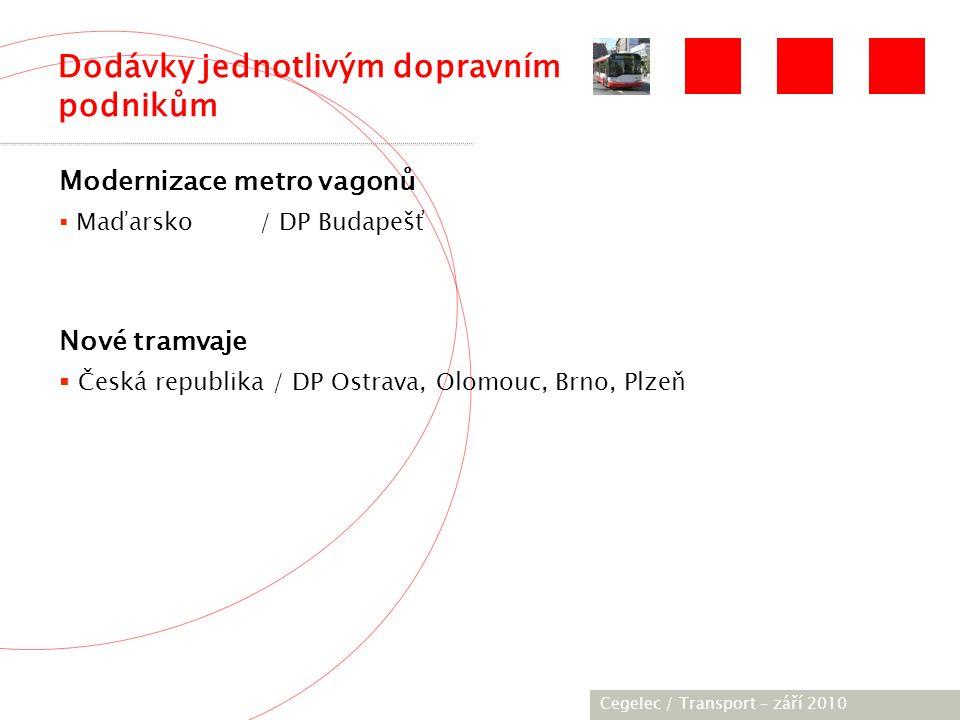 [City / Unit] – [date] 2005 Modernizace metro vagonů  Maďarsko / DP Budapešť Nové tramvaje  Česká republika / DP Ostrava, Olomouc, Brno, Plzeň Cegelec / Transport – září 2010 Dodávky jednotlivým dopravním podnikům