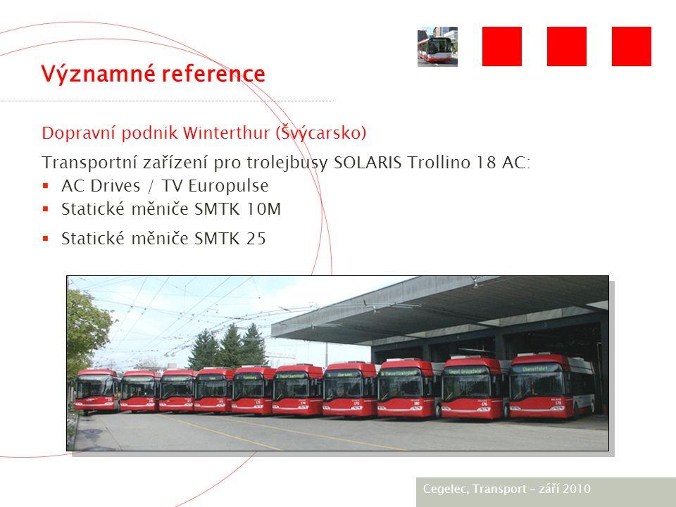 [City / Unit] – [date] 2005 Významné reference Dopravní podnik Winterthur (Švýcarsko) Transportní zařízení pro trolejbusy SOLARIS Trollino 18 AC:  AC Drives / TV Europulse  Statické měniče SMTK 10M  Statické měniče SMTK 25 Photo Cegelec, Тransport – září 2010