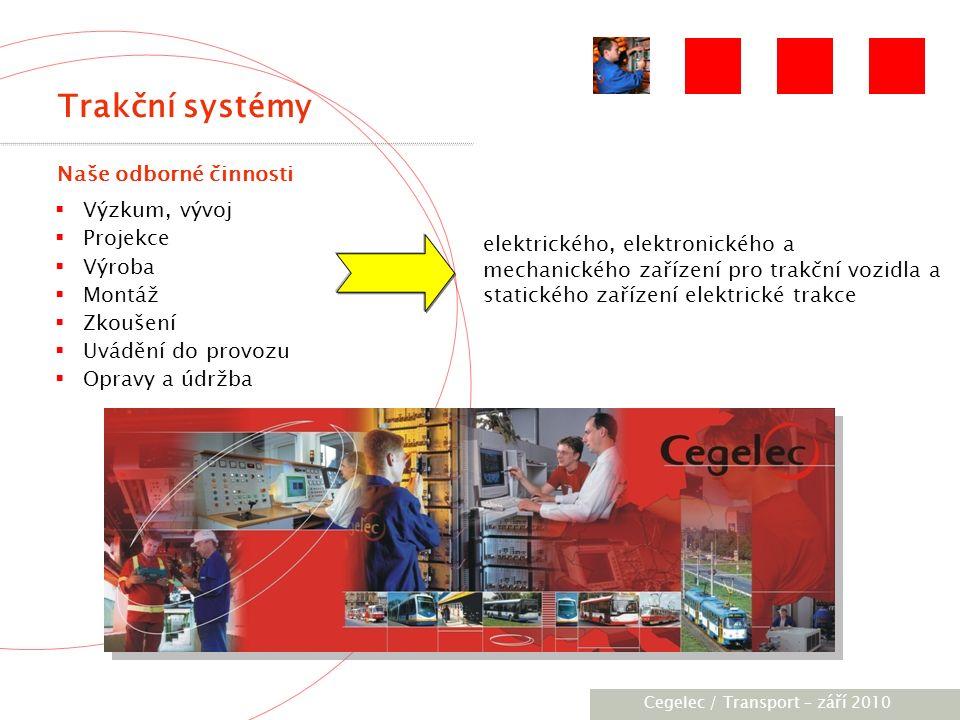 [City / Unit] – [date] 2005 BOGDAN (Ukrajina) Dodána trakční zařízení pro 11 trolejbusů LuAZ 15DC:  DC Drives/TV Progress CDC 050  Statické měniče SMTK 7.0Z Významné reference Cegelec, Transport - září 2010