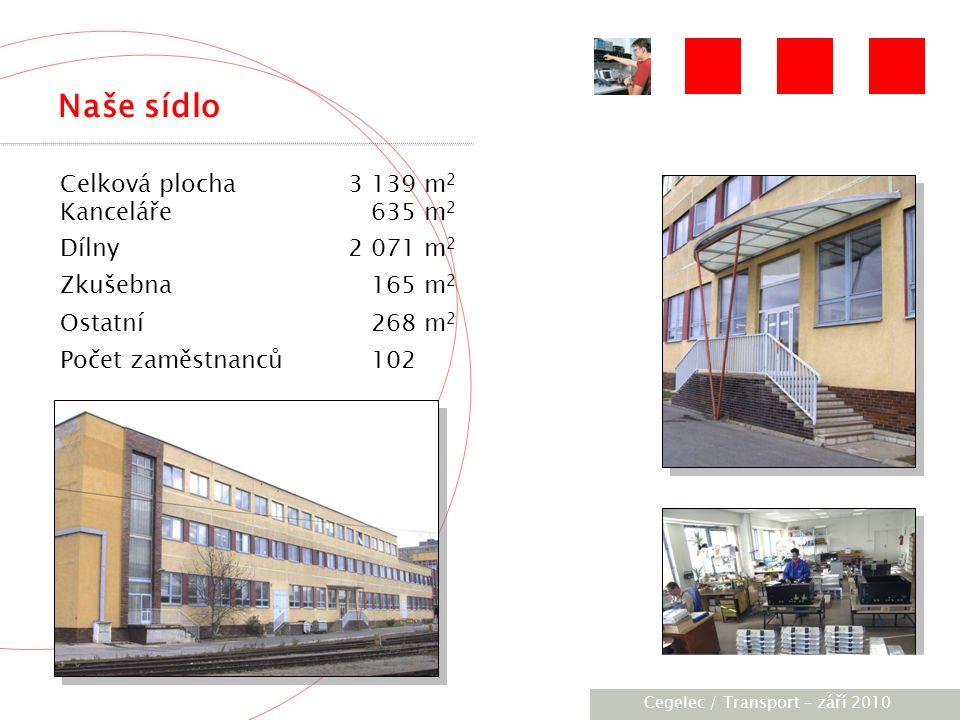 [City / Unit] – [date] 2005 Naše sídlo Celková plocha3 139 m 2 Kanceláře 635 m 2 Dílny2 071 m 2 Zkušebna 165 m 2 Ostatní 268 m 2 Počet zaměstnanců 102 Cegelec / Transport – září 2010