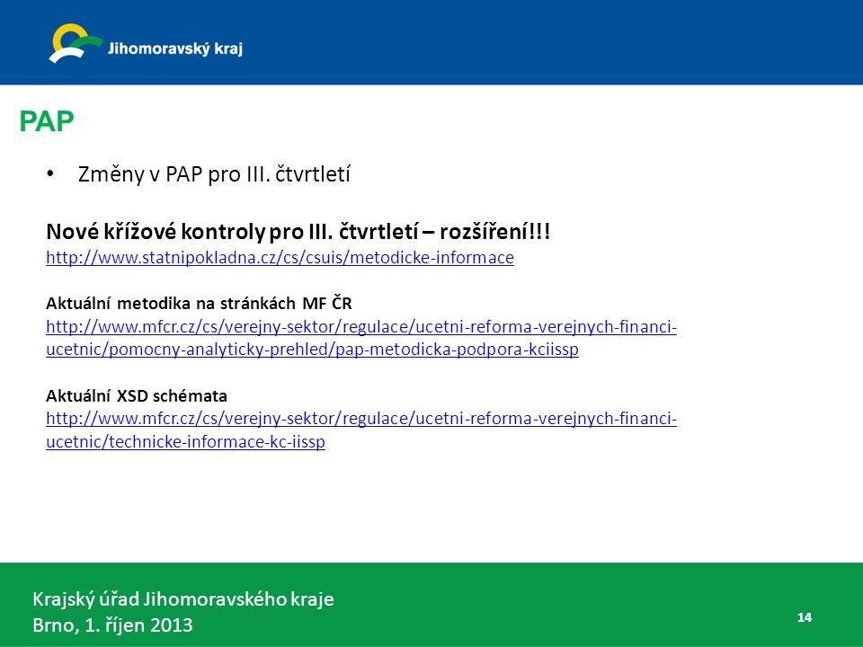 Krajský úřad Jihomoravského kraje Brno, 1.říjen 2013 Změny v PAP pro III.