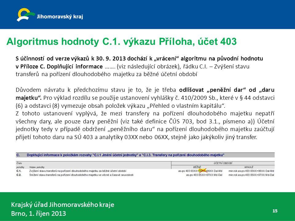 Krajský úřad Jihomoravského kraje Brno, 1.říjen 2013 S účinností od verze výkazů k 30.