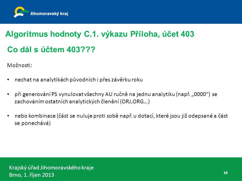 Krajský úřad Jihomoravského kraje Brno, 1. říjen 2013 Algoritmus hodnoty C.1.