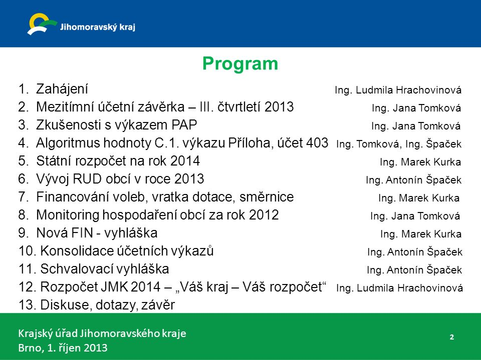 Krajský úřad Jihomoravského kraje Brno, 1. říjen 2013 Program 1.Zahájení Ing.