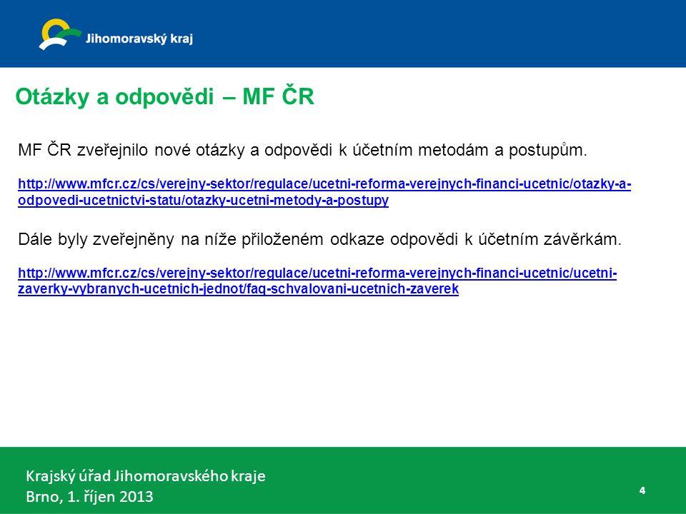 Krajský úřad Jihomoravského kraje Brno, 1. říjen 2013 VDKCS municipální část - § 6 odst. 4 65
