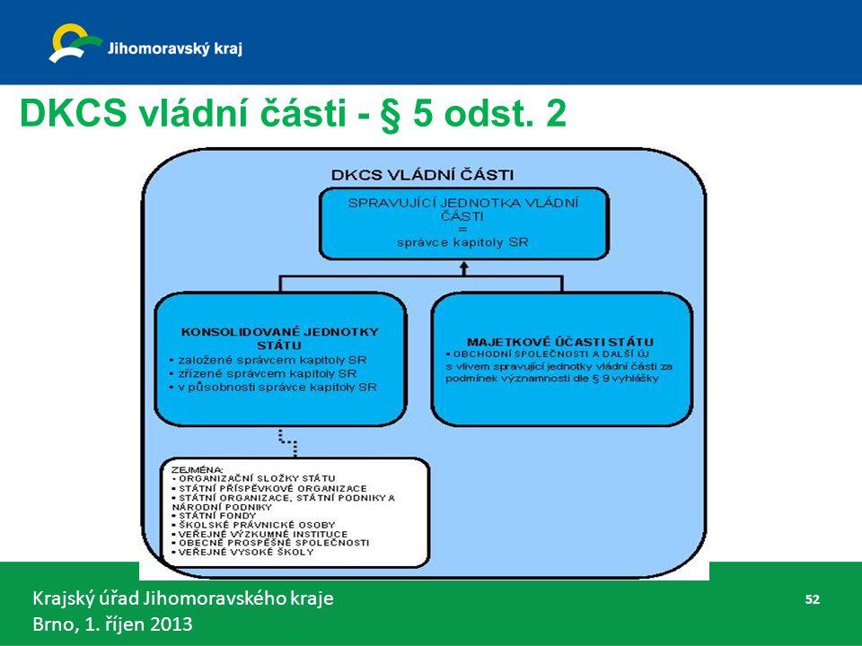 Krajský úřad Jihomoravského kraje Brno, 1. říjen 2013 DKCS vládní části - § 5 odst. 2 52