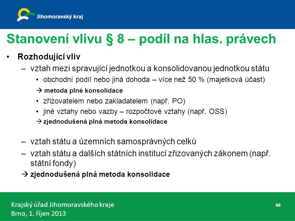 Krajský úřad Jihomoravského kraje Brno, 1.říjen 2013 Stanovení vlivu § 8 – podíl na hlas.
