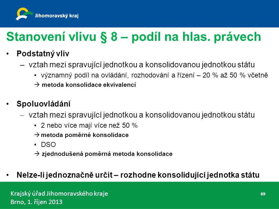 Krajský úřad Jihomoravského kraje Brno, 1. říjen 2013 Stanovení vlivu § 8 – podíl na hlas.