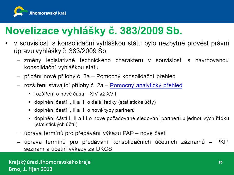 Krajský úřad Jihomoravského kraje Brno, 1. říjen 2013 Novelizace vyhlášky č.