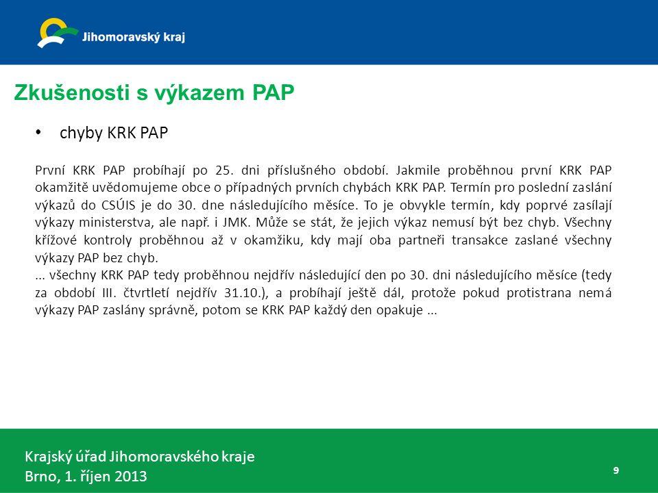 Krajský úřad Jihomoravského kraje Brno, 1. říjen 2013 chyby KRK PAP První KRK PAP probíhají po 25.