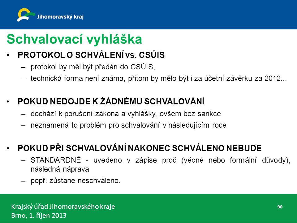 Krajský úřad Jihomoravského kraje Brno, 1.říjen 2013 Schvalovací vyhláška PROTOKOL O SCHVÁLENÍ vs.