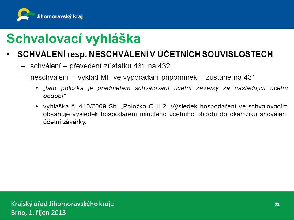 Krajský úřad Jihomoravského kraje Brno, 1. říjen 2013 Schvalovací vyhláška SCHVÁLENÍ resp.