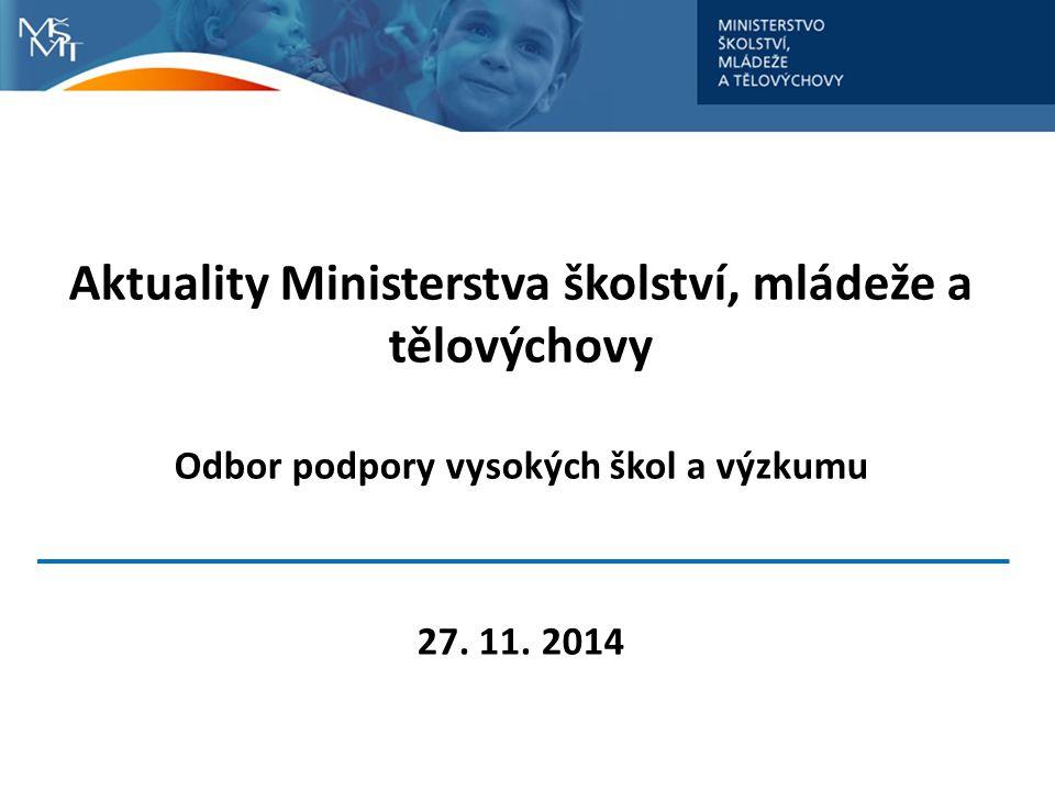 Aktuality Ministerstva školství, mládeže a tělovýchovy Odbor podpory vysokých škol a výzkumu 27.