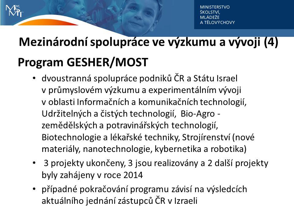 Mezinárodní spolupráce ve výzkumu a vývoji (4) Program GESHER/MOST dvoustranná spolupráce podniků ČR a Státu Israel v průmyslovém výzkumu a experimentálním vývoji v oblasti Informačních a komunikačních technologií, Udržitelných a čistých technologií, Bio-Agro - zemědělských a potravinářských technologií, Biotechnologie a lékařské techniky, Strojírenství (nové materiály, nanotechnologie, kybernetika a robotika) 3 projekty ukončeny, 3 jsou realizovány a 2 další projekty byly zahájeny v roce 2014 případné pokračování programu závisí na výsledcích aktuálního jednání zástupců ČR v Izraeli