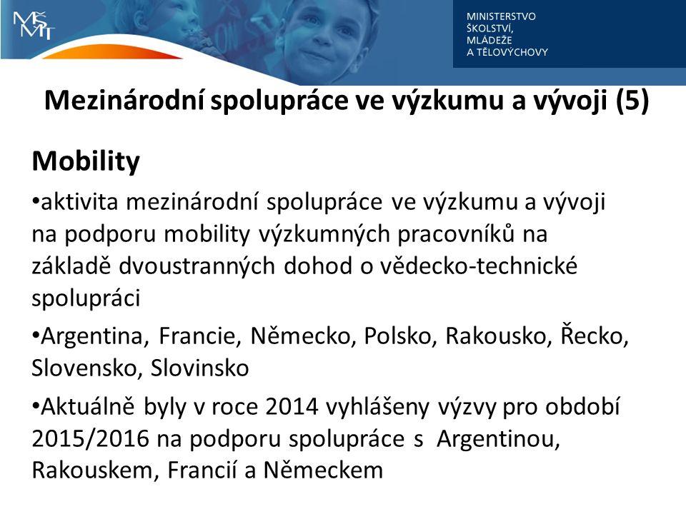Mezinárodní spolupráce ve výzkumu a vývoji (5) Mobility aktivita mezinárodní spolupráce ve výzkumu a vývoji na podporu mobility výzkumných pracovníků na základě dvoustranných dohod o vědecko-technické spolupráci Argentina, Francie, Německo, Polsko, Rakousko, Řecko, Slovensko, Slovinsko Aktuálně byly v roce 2014 vyhlášeny výzvy pro období 2015/2016 na podporu spolupráce s Argentinou, Rakouskem, Francií a Německem