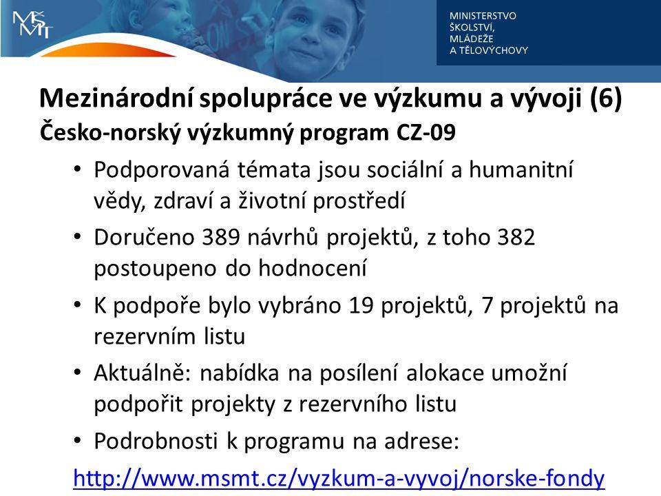 Mezinárodní spolupráce ve výzkumu a vývoji (6) Česko-norský výzkumný program CZ-09 Podporovaná témata jsou sociální a humanitní vědy, zdraví a životní prostředí Doručeno 389 návrhů projektů, z toho 382 postoupeno do hodnocení K podpoře bylo vybráno 19 projektů, 7 projektů na rezervním listu Aktuálně: nabídka na posílení alokace umožní podpořit projekty z rezervního listu Podrobnosti k programu na adrese: http://www.msmt.cz/vyzkum-a-vyvoj/norske-fondy