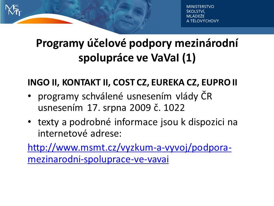 Programy účelové podpory mezinárodní spolupráce ve VaVaI (1) INGO II, KONTAKT II, COST CZ, EUREKA CZ, EUPRO II programy schválené usnesením vlády ČR usnesením 17.
