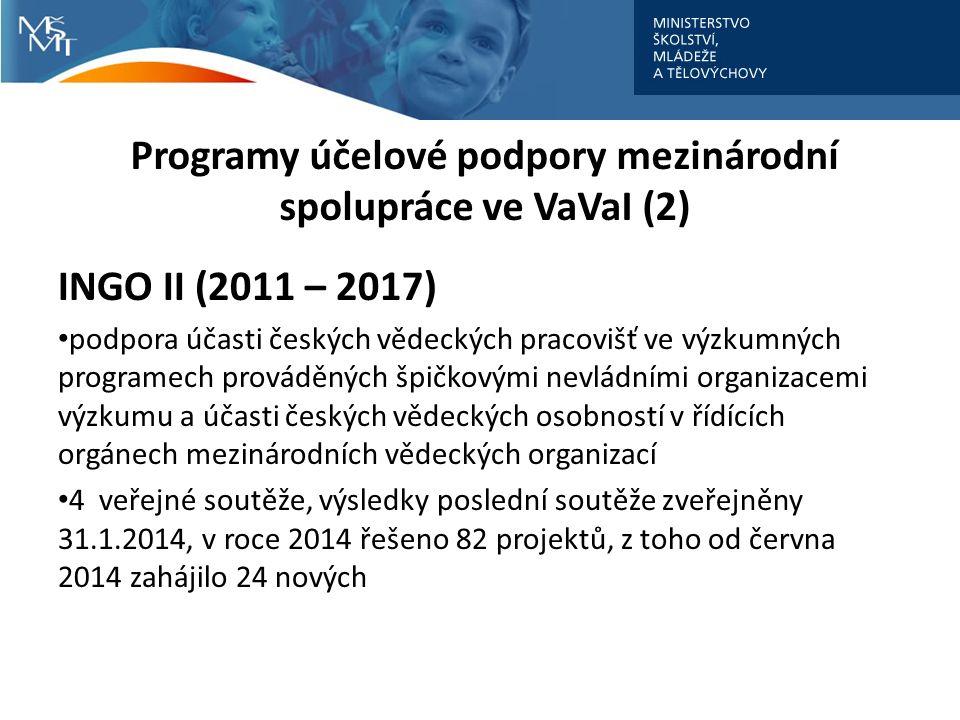 Programy účelové podpory mezinárodní spolupráce ve VaVaI (2) INGO II (2011 – 2017) podpora účasti českých vědeckých pracovišť ve výzkumných programech prováděných špičkovými nevládními organizacemi výzkumu a účasti českých vědeckých osobností v řídících orgánech mezinárodních vědeckých organizací 4 veřejné soutěže, výsledky poslední soutěže zveřejněny 31.1.2014, v roce 2014 řešeno 82 projektů, z toho od června 2014 zahájilo 24 nových