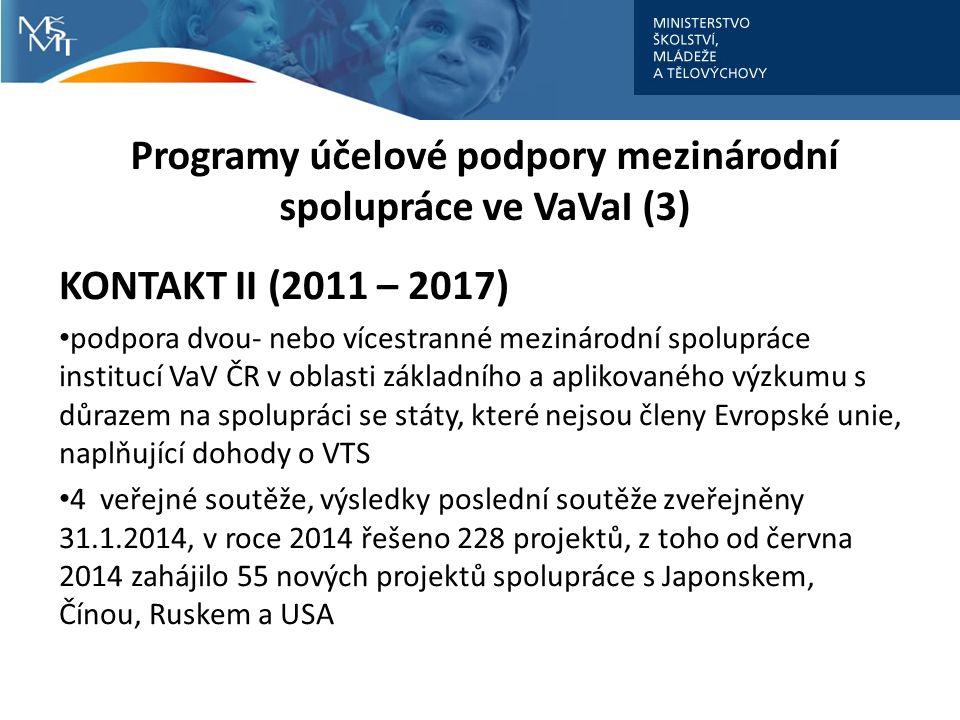 Programy účelové podpory mezinárodní spolupráce ve VaVaI (3) KONTAKT II (2011 – 2017) podpora dvou- nebo vícestranné mezinárodní spolupráce institucí VaV ČR v oblasti základního a aplikovaného výzkumu s důrazem na spolupráci se státy, které nejsou členy Evropské unie, naplňující dohody o VTS 4 veřejné soutěže, výsledky poslední soutěže zveřejněny 31.1.2014, v roce 2014 řešeno 228 projektů, z toho od června 2014 zahájilo 55 nových projektů spolupráce s Japonskem, Čínou, Ruskem a USA