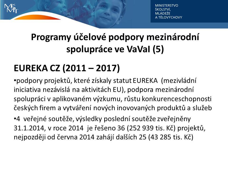 Programy účelové podpory mezinárodní spolupráce ve VaVaI (5) EUREKA CZ (2011 – 2017) podpory projektů, které získaly statut EUREKA (mezivládní iniciativa nezávislá na aktivitách EU), podpora mezinárodní spolupráci v aplikovaném výzkumu, růstu konkurenceschopnosti českých firem a vytváření nových inovovaných produktů a služeb 4 veřejné soutěže, výsledky poslední soutěže zveřejněny 31.1.2014, v roce 2014 je řešeno 36 (252 939 tis.