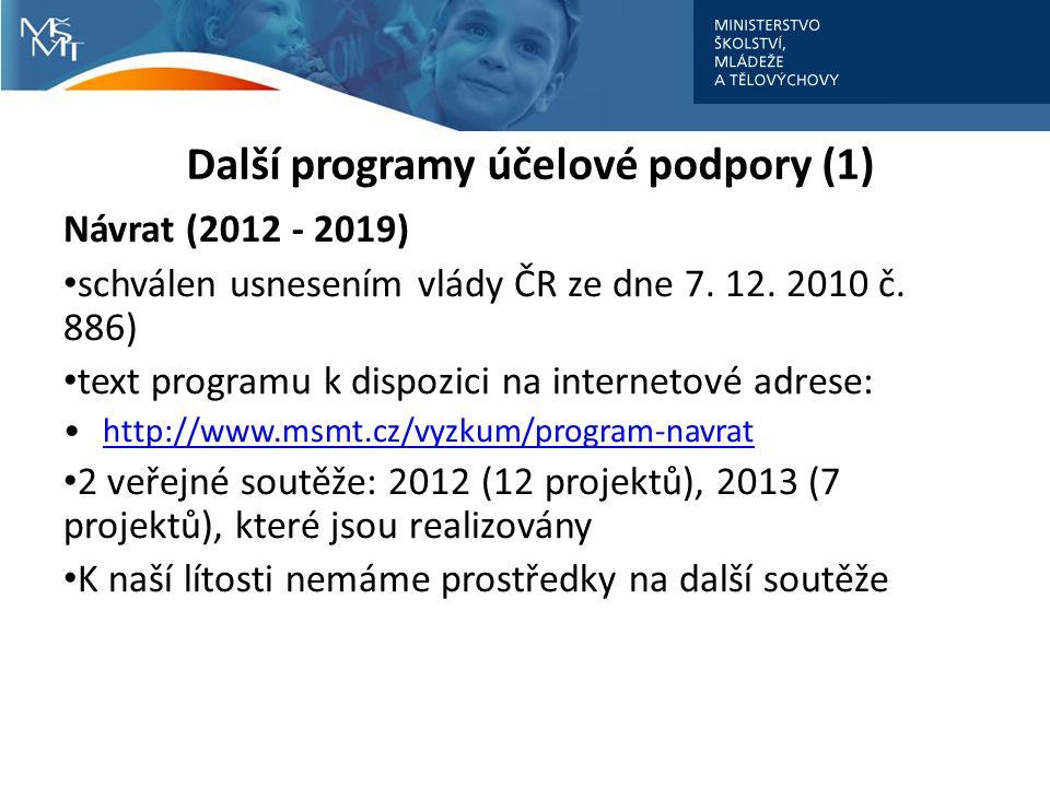 Další programy účelové podpory (1) Návrat (2012 - 2019) schválen usnesením vlády ČR ze dne 7.