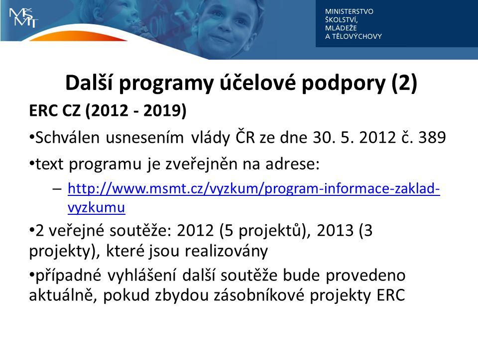 Další programy účelové podpory (2) ERC CZ (2012 - 2019) Schválen usnesením vlády ČR ze dne 30.
