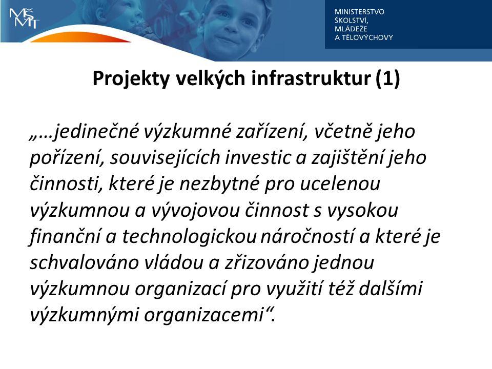 """Projekty velkých infrastruktur (1) """"…jedinečné výzkumné zařízení, včetně jeho pořízení, souvisejících investic a zajištění jeho činnosti, které je nezbytné pro ucelenou výzkumnou a vývojovou činnost s vysokou finanční a technologickou náročností a které je schvalováno vládou a zřizováno jednou výzkumnou organizací pro využití též dalšími výzkumnými organizacemi ."""