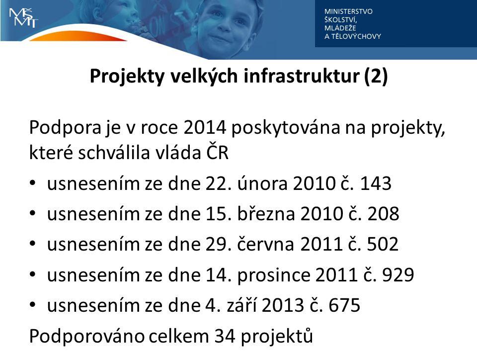 Projekty velkých infrastruktur (2) Podpora je v roce 2014 poskytována na projekty, které schválila vláda ČR usnesením ze dne 22.