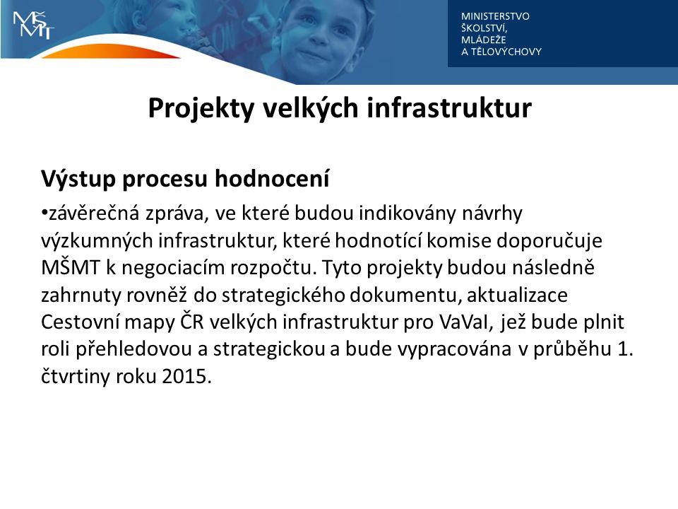 Projekty velkých infrastruktur Výstup procesu hodnocení závěrečná zpráva, ve které budou indikovány návrhy výzkumných infrastruktur, které hodnotící komise doporučuje MŠMT k negociacím rozpočtu.