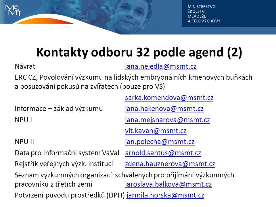 Kontakty odboru 32 podle agend (2) Návratjana.nejedla@msmt.czjana.nejedla@msmt.cz ERC CZ, Povolování výzkumu na lidských embryonálních kmenových buňkách a posuzování pokusů na zvířatech (pouze pro VŠ) sarka.komendova@msmt.cz Informace – základ výzkumujana.hakenova@msmt.czjana.hakenova@msmt.cz NPU Ijana.mejsnarova@msmt.czjana.mejsnarova@msmt.cz vit.kavan@msmt.cz NPU IIjan.polecha@msmt.czjan.polecha@msmt.cz Data pro Informační systém VaVaIarnold.santus@msmt.czarnold.santus@msmt.cz Rejstřík veřejných výzk.