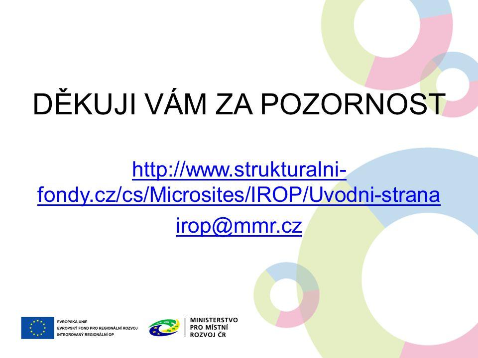 DĚKUJI VÁM ZA POZORNOST http://www.strukturalni- fondy.cz/cs/Microsites/IROP/Uvodni-strana http://www.strukturalni- fondy.cz/cs/Microsites/IROP/Uvodni-strana irop@mmr.cz