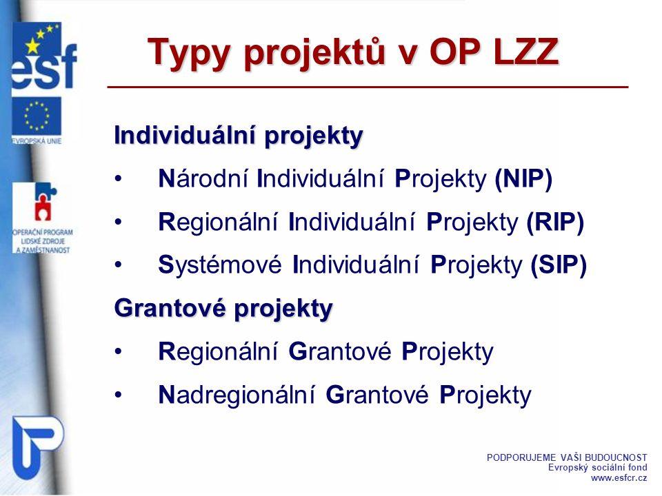 Typy projektů v OP LZZ Individuální projekty Národní Individuální Projekty (NIP) Regionální Individuální Projekty (RIP) Systémové Individuální Projekt